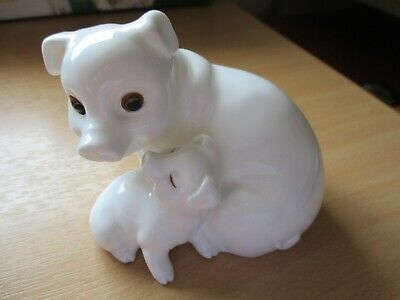 Royal Osborne Pig And Piglet White Gold China Figurine ,one Owner • 22£