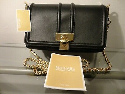 07025730809959 Michael Kors Padlock Chain Gold/Black Leather Cross Body Bag MSRP$248.00  NWT! •