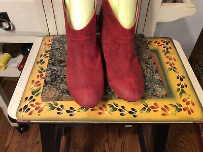 $28 • Buy MTNG Originals Red Suede Pull On Ankle Boots Womens Size 39-US-8 Made In Spain