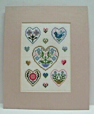 Hand Finished Cross Stitch,Hearts Mounted Ready For Framing • 14.99£