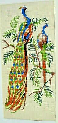 Hand Finished Cross Stitch Birds Of Paradise Stretched Ready For Framing • 14.99£