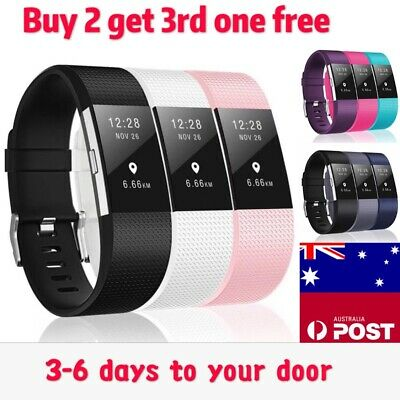 AU5.99 • Buy Fitbit Charge 2 Band Various Silicone Band Replacement Wristband Watch Strap New