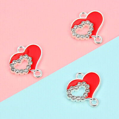 £1.59 • Buy 10Pcs Alloy Paved Rhinestone Red Heart Love Charms Connector DIY Jewelry Making