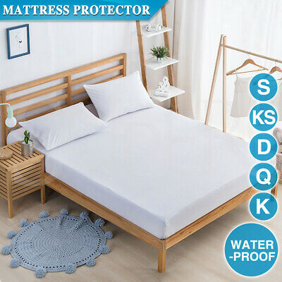 AU19.99 • Buy Cotton Terry Towelling Mattress Protector Waterproof Anti Mite Bed Cover White