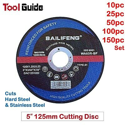 AU27 • Buy 5  CUTTING DISC 125mm METAL CUT OFF WHEEL ANGLE GRINDER THIN STEEL STAINLESS 1.2