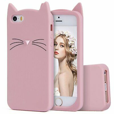 £5.73 • Buy For IPhone SE / IPhone 5S - Soft Rubber Silicone Case Cover Pink Cat Whisker Ear