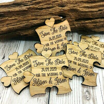 AU82.70 • Buy Personalised Rustic Wooden Jigsaw Save The Date Fridge Magnets Wedding Invites