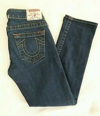 $23 • Buy TRUE RELIGION LIZZY Crop Denim Blue Jeans Womens 24 Made In USA (26x25 Actual)