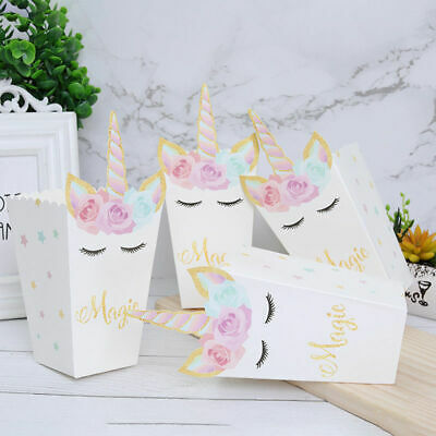 20PCS Unicorn Popcorn Boxes Candy Paper Bag Home Birthday Party Supplies DIY UK • 5.59£