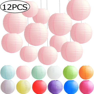 £12.99 • Buy 12 PACK Mixed Round Paper Lanterns Lamp Shade Wedding Birthday Party Decorations