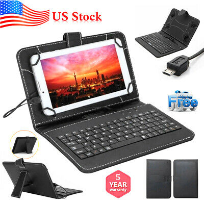 $7.49 • Buy PU Leather Stand Case With Micro USB+Keyboard For 10.1 Inch Tablet PC IPad Cover