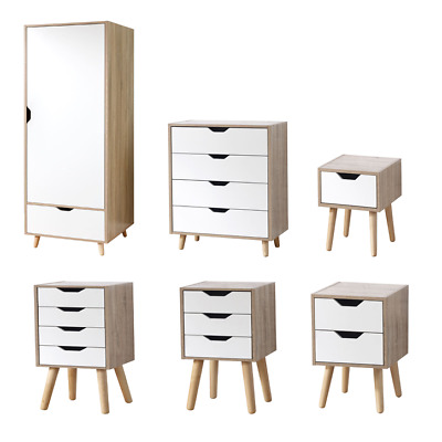 Stockholm White & Oak Scandinavian Bedroom Range Wardrobe Drawer Nightstand • 59.22£