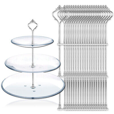 £15.95 • Buy 20 Sets 3 Tier Cake Plate Stand Handle Fittings Silver For Royal Crown Rod