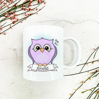 Personalised Baby Owl Plastic Mug Children's Birthday Gift Juice Cup Any Name • 10.99£
