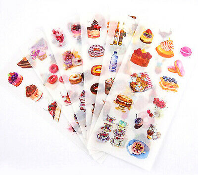 CAKE STICKERS 6 Sheets Food Craft Scrapbook Baking Cupcake Chef Card Decoration  • 2.89£