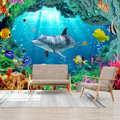 $15.74 • Buy Cute Dolphin Self-adhesive Wallpaper Children Room Wall Decoration Sticker