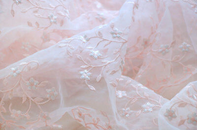£13.99 • Buy Pink Embroidery Bridal Dress Costume DIY Tulle Floral Wedding Lace Fabric 0.5 M