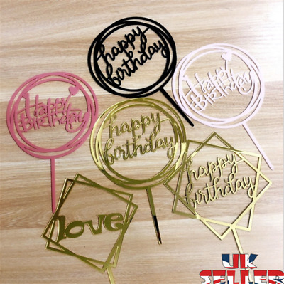 New Love Happy Birthday Cake Topper Card Acrylic Party Decor Supplies Multi UK • 1.59£