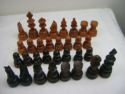 Vintage Wooden Chess Set 4 3/4 Inch King Philipines Nice Old Chess Set U2022