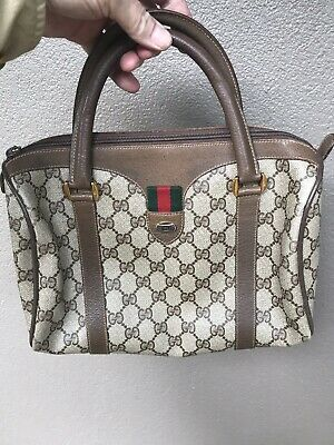 752d0b7534a3da Authentic Vintage GUCCI Monogram GG Brown Leather Handbag Small Size •  144.50$