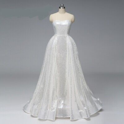$ CDN189.47 • Buy Luxury Strapless Sequins Wedding Dresses White Bridal Gown With Detachable Train