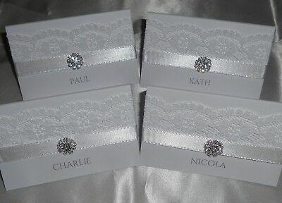 Rustic Vintage Lace Wedding Place Cards Personalised Brooch Place Name Settings • 1.25£