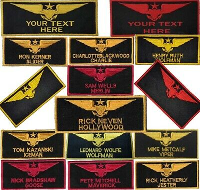 Top Gun Name Tags Badge Embroidered Patch Sew/Iron - On 10cm • 3.99£
