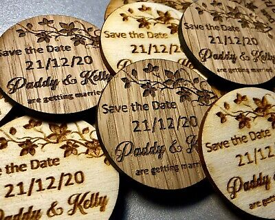 AU48.58 • Buy Wooden Save The Date Personalised Engraved Rustic Disc Fridge Magnets Wedding