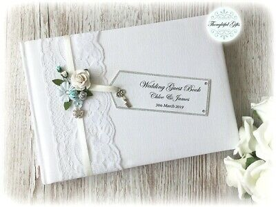 **Luxury Personalised Wedding Guest Book Vintage Rose/ Lace/ Ribbon Includes Box • 21.50£