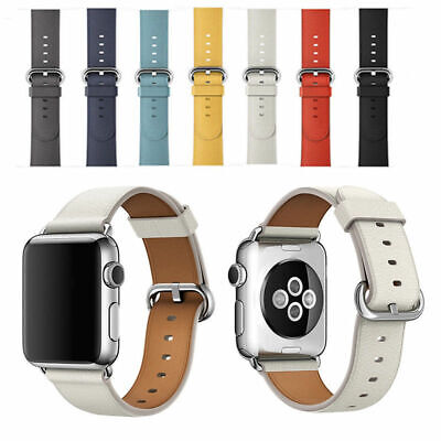$ CDN9.61 • Buy Premium Leather Strap Wrist Bands For Apple Watch  Band 38mm 44mm Series 4 3 2