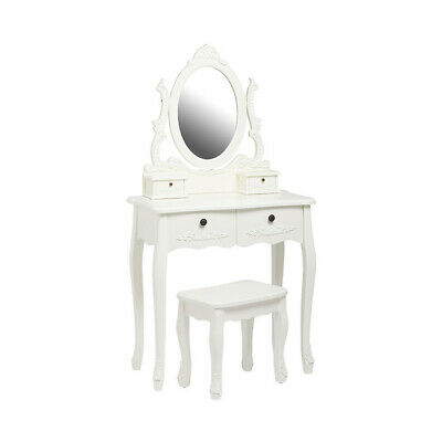 Antique French Style White Dressing Table Set With Mirror & Stool • 265£