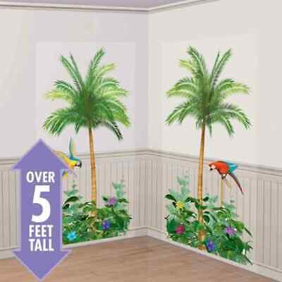 2x 5ft Hawaiian Luau Tropical Palm Tree Scene Setter Party Beach Wall Decoration • 4.25£
