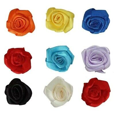 25x Small Mini Satin Ribbon Flowers Rose Wedding Decor Sewing Appliques DIY • 2.49£