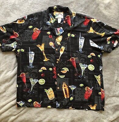 75f74223 Paradise Found VTG Hawaiian Martini XL Mens Shirt Cocktails Atomic Lounge •  15.80$