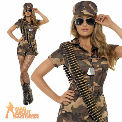 Adult Sexy Army Girl Costume Soldier Fancy Dress Military Uniform Ladies Outfit • 20.99£