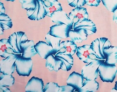 Pink/Blue HIBISCUS JERSEY Fabric Floral Tropical Hawaiian Stretch Flowers 50cm • 5.80£