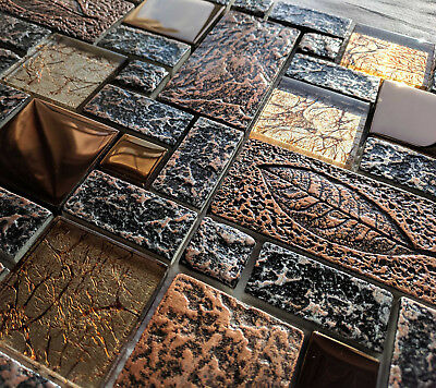 Nature Design High Relief 3d Stone Metal & Glass Copper Brown Mosaic Wall Tiles • 7.98£