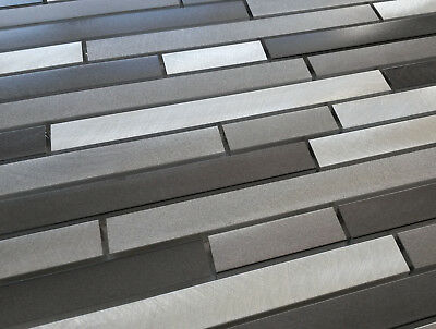 New Luxury Silver Grey Metal Turned Steel Rectangle Mosaic Tiles 8mm Rrp £16 • 8.98£