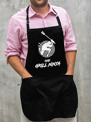 $22 • Buy The Grill Ninja Apron / Funny BBQ Grilling Gift For Men - Dads & Grandpas
