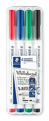 STAEDTLER 301 WP4 Whiteboard Drywipe Pens, Assorted Colours, Case Of 4 Pens • 5.75£