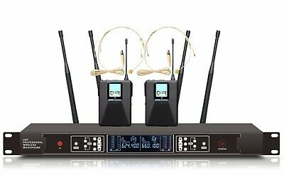 Wireless Microphone Headset System UHF True Diversity Cordless Headset Mic Set • 169.11£