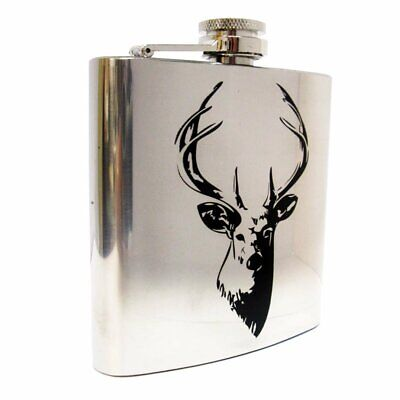 £10.99 • Buy Stainless Steel Stags Head Hip Flask Outdoor Travel Shooting Gift Boxed