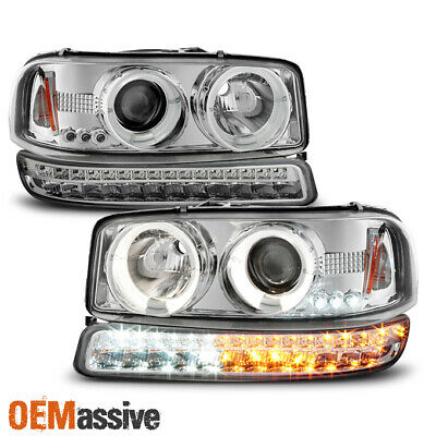 $187.99 • Buy For 1999-2006 GMC Sierra Yukon Halo Projector Head Lamps Pair + LED Signal Lamps