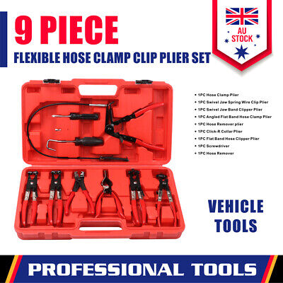 AU63.98 • Buy 9-Piece Hose Clamp Pliers Kit Clip Remove Set Swivel Jaw Flat Angled Automotive