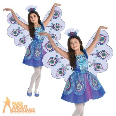 Kids Girls Pretty Peacock Costume Animal Bird World Book Day Fancy Dress Outfit • 17.49£