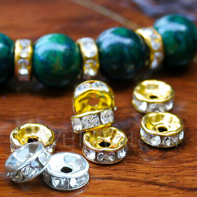25 Rhinestone Crystal Rondelle Spacer Beads Silver Gold Plated Jewellery DIY 718 • 2.99£