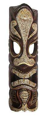 £19.97 • Buy TIKI Mask Wooden Wall Plaque 50cm Hand Carved & Painted SURFER/ MAORI STYLE New