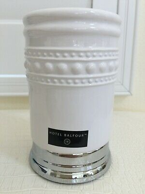 HOTEL BALFOUR Tooth Brush Holder Cup Ceramic Porcelain With Chrome Base 5 X3  • 22.78£