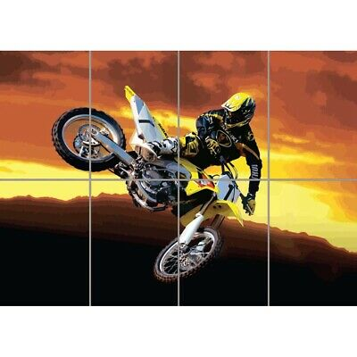 Motocross Jump Motorbike Yellow Sunset Giant Poster Picture Print Wall Art • 12.99£
