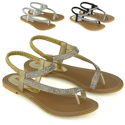 £19.99 • Buy Womens Slingback Strappy Sandals Ladies Flat Sparkly Diamante Shoes Toe Post 3-9
